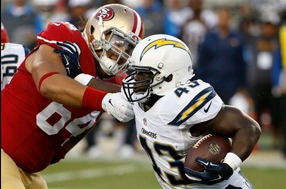 San Diego Chargers running back Branden Oliver (43) runs against San Francisco 49ers nose tackle Mike Purcell (64) during the first half of an NFL preseason football game in Santa Clara, Calif., Thursday, Sept. 3, 2015. (AP Photo/Tony Avelar)