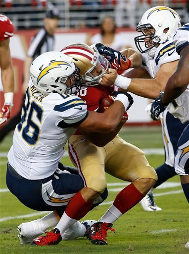 San Francisco 49ers' Jarryd Hayne, center, is tackled by San Diego Chargers' Kyle Miller (86) and Colton Underwood during the first half of an NFL preseason football game in Santa Clara, Calif., Thursday, Sept. 3, 2015.