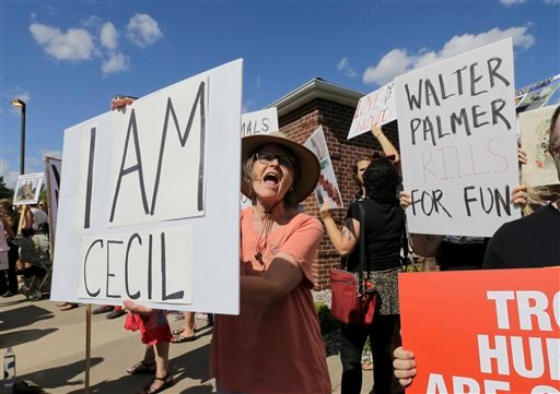 In this July 29, 2015, file photo, protestors gather outside Dr. Walter James Palmer's dental office in Bloomington, Minn. Palmer killed Cecil, a black-maned lion, just outside Hwange National Park in Zimbabwe. Palmer participated in an interview Sunday,