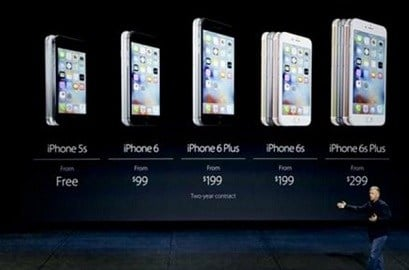 Phil Schiller, Apple's senior vice president of worldwide marketing, talks about the pricing of the new iPhone 6s and iPhone 6s Plus during the Apple event at the Bill Graham Civic Auditorium in San Francisco, Wednesday, Sept. 9, 2015. (AP Photo)