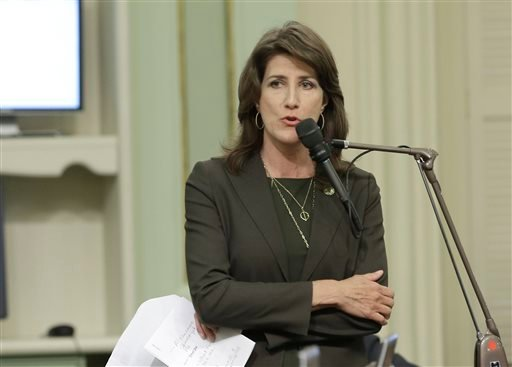 Assemblywoman Catherine Baker, R-Dublin, urged lawmakers to approve a right-to-die measure Diaz supported, Wednesday, Sept. 9, 2015, in Sacramento, Calif. On a 42-33 vote lawmakers approved the bill, by Assemblywoman Susan Talamantes Eggman, that would al
