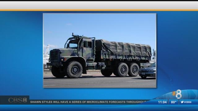 This screen grab shows a Medium Tactical Vehicle Replacement. This was not the actual vehicle involved in the crash.