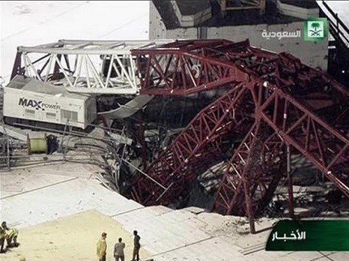 In this still image taken from video released by Saudi TV, a crane is seen collapsed over the Grand Mosque in Mecca, killing dozens, Friday, Sept. 11, 2015.