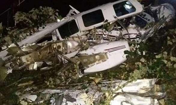 AP - The wreckage of a small plane assigned to the crew of a film starring Tom Cruise, that crashed, in a rural place of San Pedro de los Milagros, Colombia, Friday, Sept. 11, 2015.