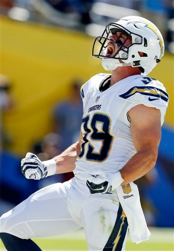 San Diego Chargers running back Danny Woodhead reacts after scoring a touchdown against the Detroit Lions during the first half of an NFL football game, Sunday, Sept. 13, 2015, in San Diego. (AP Photo/Alex Gallardo)