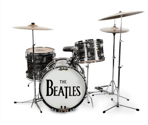 This undated photo provided by Julien's Auctions shows Beatle Ringo Starr's first 1963 Ludwig Oyster Black Pearl three-piece drum kit, used by Starr in more than 200 performances in 1963 and 1964. (Julien's Auctions via AP)