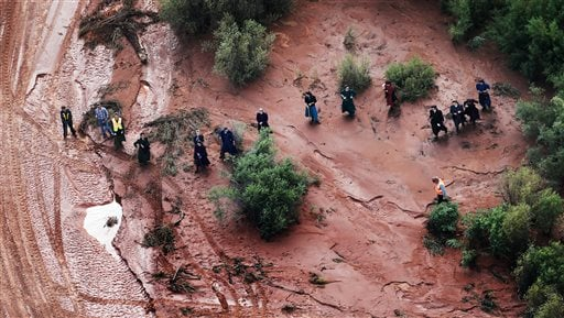In this aerial photo searchers continue looking for 6-year-old Tyson Lucas Black in Zion National Park, Utah, Wednesday, Sept. 16, 2015. (Scott G Winterton/The Deseret News via AP)
