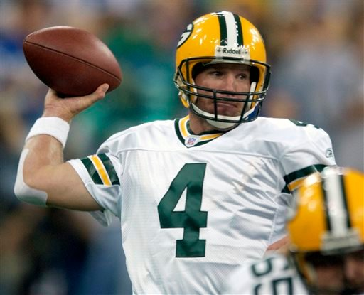 In this Sunday, Sept. 26, 2004 file photo, Green Bay Packers quarterback Brett Farve throws a pass in the first quarter against the Indianapolis Colts in Indianapolis.