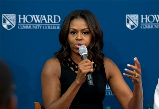 Sept. 17, 2015 file photo: First lady Michelle Obama speaks to students during her visit to a career and technical training program at Howard Community College, in Columbia, Md.( AP Photo/Jose Luis Magana)