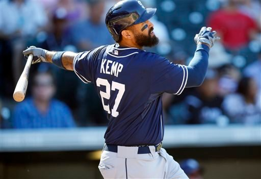 San Diego Padres' Matt Kemp follows the flight of his double off Colorado Rockies starting pitcher David Hale during a baseball game, Sunday, Sept. 20, 2015, in Denver. San Diego won 10-4. (AP Photo/David Zalubowski)