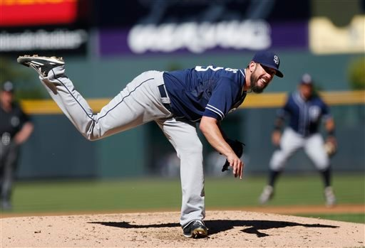 San Diego Padres starting pitcher James Shields works against he Colorado Rockies in the first inning of a baseball game Sunday, Sept. 20, 2015, in Denver. (AP Photo/David Zalubowski)