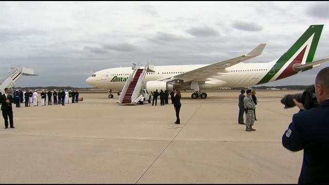 This video screen grab shows Pope Francis landing in the United States to begin 6-day, 3-city visit.