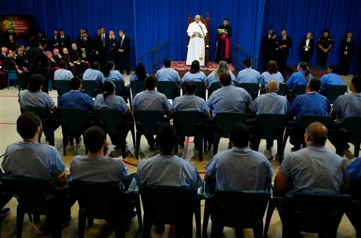 Pope Francis addresses inmates during his visit to Curran-Fromhold Correctional Facility in Philadelphia, Sunday, Sept. 27, 2015. (Tony Gentile/Pool Photo via AP)