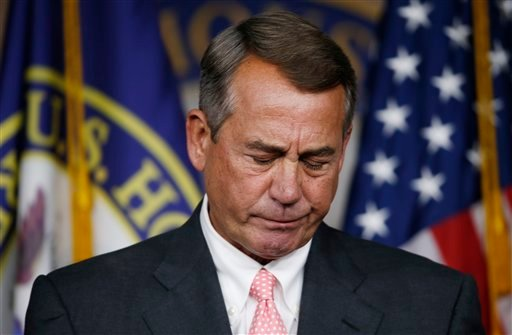 House Speaker John Boehner of Ohio pauses during a news conference on Capitol Hill in Washington, Friday, Sept. 25, 2015. In a stunning move, Boehner informed fellow Republicans on Friday that he would resign from Congress at the end of October, stepping