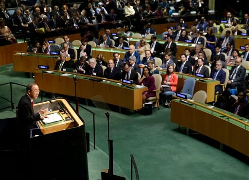 United Nations Secretary-General Ban Ki-moon speaks during the 70th session of the United Nations General Assembly at U.N. headquarters, Monday, Sept. 28, 2015. (AP Photo/Seth Wenig)