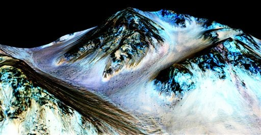 This undated photo provided by NASA and taken by an instrument aboard the agency's Mars Reconnaissance Orbiter shows dark, narrow, 100 meter-long streaks on the surface of Mars that scientists believe were caused by flowing streams of salty water. Researc