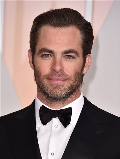 "FILE - In this Feb. 22, 2015 file photo, Chris Pine arrives at the Oscars at the Dolby Theatre in Los Angeles. Looking for a ""vertical city"" to stand in for a futuristic world, actors and filmmakers involved in ""Star Trek Beyond"" found it among the gleami"