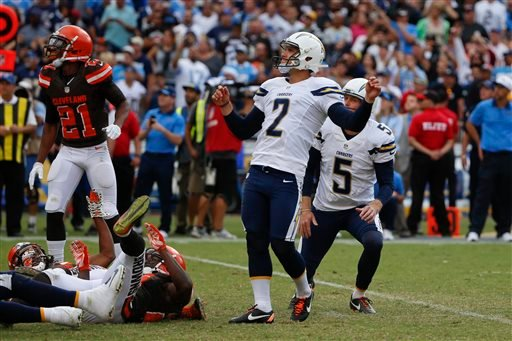 San Diego Chargers kicker Josh Lambo (2) watches his NFL football game-winning field goal against the Cleveland Browns during the second half Sunday, Oct. 4, 2015, in San Diego. (AP Photo/Lenny Ignelzi)
