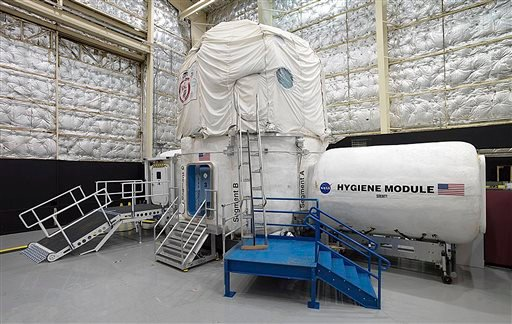 This Nov. 15, 2013 photo released by NASA shows the three-story Human Exploration Research Analog habitat at the Johnson Space Center in Houston. The space agency, which is contemplating a future journey to Mars, is working with a military laboratory at t