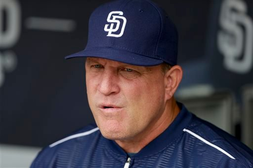 In this June 16, 2015, file photo, San Diego Padres interim manager Pat Murphy looks on before a baseball game against the Oakland Athletics in San Diego. A.J. Preller, Padres executive vice president/general manager, announced Sunday, Oct. 4, 2015, that