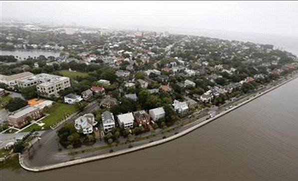 Overall aerial view shows historic Charleston at the Battery with minor flooding still visible in Charleston, S.C., Monday, Oct. 5, 2015. The Charleston and surrounding areas are still struggling with flood waters due to a slow moving storm system. (AP)