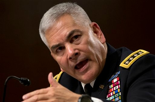 U.S. Forces-Afghanistan Resolute Support Mission Commander Gen. John Campbell testifies on Capitol Hill in Washington, Tuesday, Oct. 6, 2015, before the Senate Armed Services Committee hearing on the Situation in Afghanistan. U.S. forces attacked a hospit