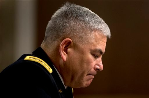 U.S. Forces-Afghanistan Resolute Support Mission Commander Gen. John Campbell pauses as he testifies on Capitol Hill in Washington, Tuesday, Oct. 6, 2015, before the Senate Armed Services Committee hearing on the Situation in Afghanistan. U.S. forces atta