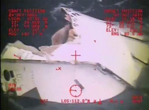 In this Sunday, Oct. 4, 2015, photo, made from video and released by the U.S. Coast Guard, a Coast Guard Air Station Miami MH-60 Jayhawk helicopter crew investigates a life boat that was found from the missing ship El Faro. On Monday, four days after the