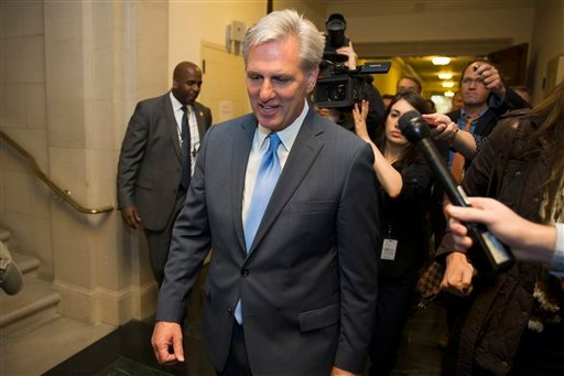 House Majority Leader of Kevin McCarthy of Calif. walks out of nomination vote meeting on Capitol Hill in Washington, Thursday, Oct. 8, 2015, after dropping out of the race to replace House Speaker John Boehner. In a stunning move, McCarthy withdrew his c