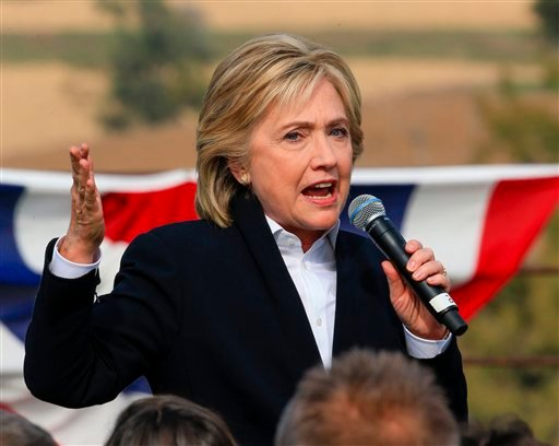 Democratic presidential candidate Hillary Rodham Clinton speaks Wednesday, Oct. 7, 2015, during a campaign stop at the Westfair Amphitheater in Council Bluffs, Iowa. (AP Photo/Nati Harnik)