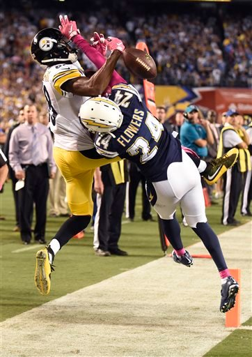 Pittsburgh Steelers wide receiver Darrius Heyward-Bey can't hold on the ball as San Diego Chargers cornerback Brandon Flowers (24) breaks up the pass during the second half of an NFL football game Monday, Oct. 12, 2015, in San Diego.