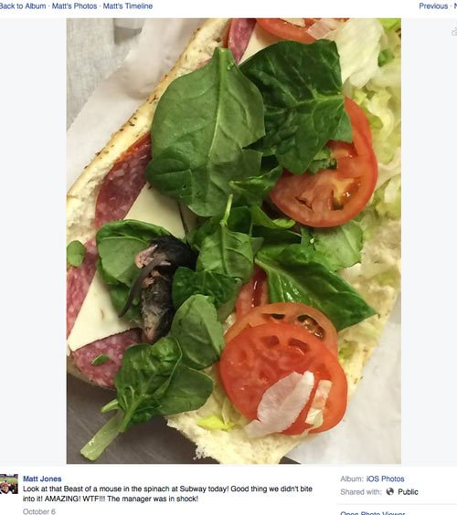 Image from Subway customer Matt Jone's Facebook post
