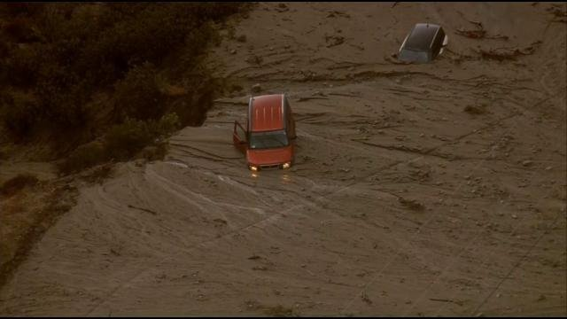 Flooding San Francisquito Canyon and Elizabeth Lake roads.