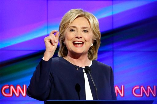 In this Oct. 13, 2015, photo, Democratic presidential candidate Hillary Rodham Clinton speaks during the Democratic presidential debate in Las Vegas. It seems like there was a 15-year virtual gag order on guns in presidential politics. But Democrats are t