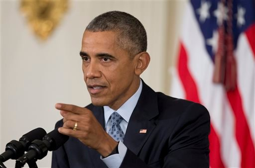 In this Oct. 2, 2015, file photo, President Barack Obama speaks to reporters in the State Dining Room of the White House in Washington. It seems like there was a 15-year virtual gag order on guns in presidential politics. But Democrats are talking again a