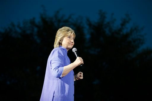 Wednesday, Oct. 14, 2015, file photo, Democratic presidential candidate Hillary Rodham Clinton speaks at a rally in Las Vegas. (AP Photo/John Locher, File)