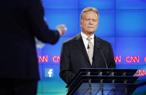 Democratic presidential candidate former Virginia Sen. Jim Webb listens during the CNN Democratic presidential debate Tuesday, Oct. 13, 2015, in Las Vegas. (AP Photo/John Locher)