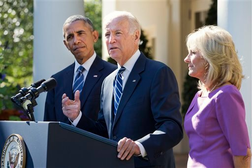 Vice President Joe Biden, with his wife Dr. Jill Biden, right, and President Barack Obama announces that he will not run for the presidential nomination, Wednesday, Oct. 21, 2015, in the Rose Garden of the White House in Washington.