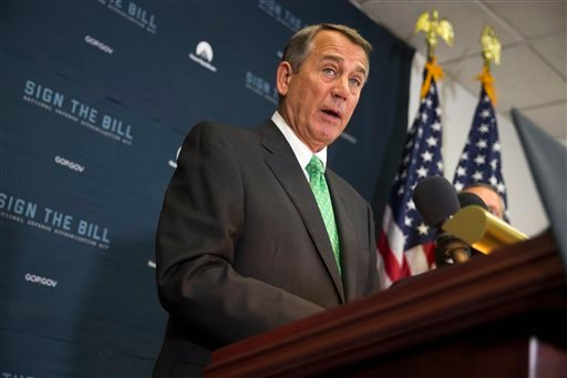 House Speaker John Boehner of Ohio speaks during a news conference on Capitol Hill in Washington, Wednesday, Oct. 21, 2015, following a House GOP conference meeting. Rep. Paul Ryan, R-Wis. is seeking unity in a place it's rarely found, telling House Repub