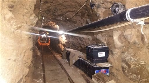 This Wednesday, Oct. 21, 2015 photo released by Mexico's Federal Police shows an underground tunnel that police say was built to smuggle drugs from Tijuana, Mexico to San Diego in the United States.