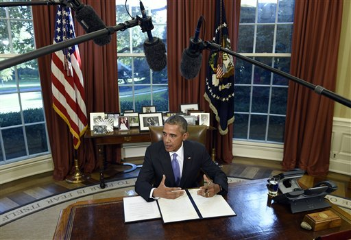 President Barack Obama speaks before vetoing the National Defense Authorization Act (NDAA), Thursday, Oct. 22, 2015, in the Oval Office of the White House in Washington. The president vetoed the sweeping $612 billion defense policy bill, citing objections