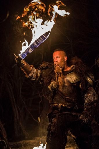 "This photo provided by Lionsgate shows Vin Diesel as Kaulder in a scene from the film, ""The Last Witch Hunter."" (Scott Garfield/Lionsgate via AP)"