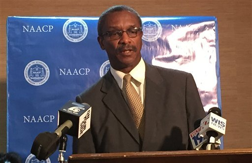 South Carolina NAACP President Lonnie Randolph speaks a news conference about the incident the occurred Monday at Spring Valley High School, Tuesday, Oct. 27, 2015, in Columbia S.C. The Justice Department opened a civil rights probe Tuesday into the arres