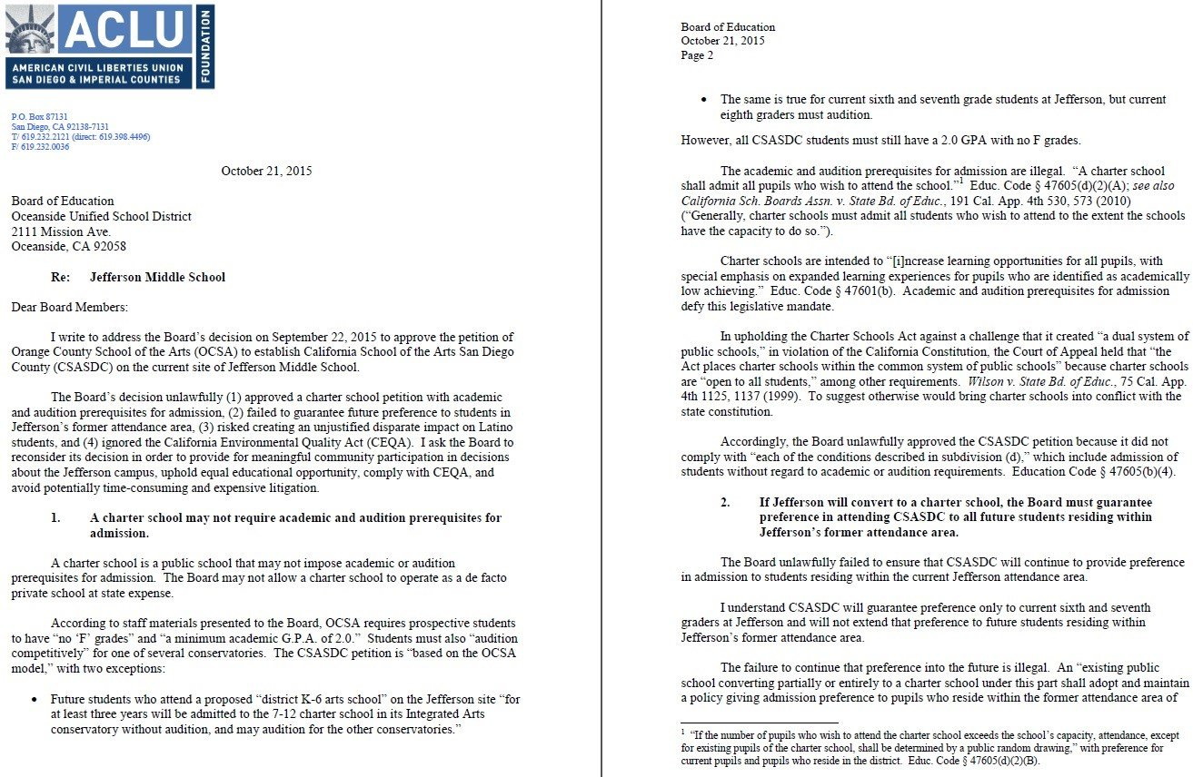 Letter ACLU wrote to the school board.