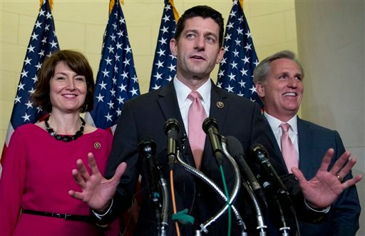 Rep. Paul Ryan, R-Wis., flanked by Rep. Cathy McMorris Rodgers, R-Wash., left, and House Majority Leader Kevin McCarthy of Calif., speaks during a news conference on Capitol Hill in Washington, Wednesday, Oct. 28, 2015, after a Special GOP Leadership Elec