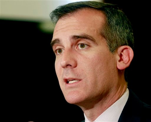 In this March 2, 2015 file photo, Los Angeles Mayor Eric Garcetti speaks at City Hall in Los Angeles.