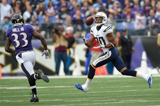 San Diego Chargers wide receiver Malcom Floyd (80) pulls in a touchdown pass as Baltimore Ravens strong safety Will Hill (33) closes in during the second half of an NFL football game in Baltimore, Sunday, Nov. 1, 2015. (AP Photo/Nick Wass)