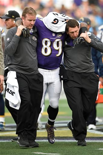 Baltimore Ravens wide receiver Steve Smith (89) is helped off the field after an injury during the second half of an NFL football game against the San Diego Chargers in Baltimore, Sunday, Nov. 1, 2015. (AP Photo/Nick Wass)