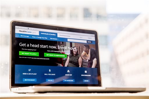 In this Oct. 6, 2015 file photo, the HealthCare.gov website, where people can buy health insurance, is displayed on a laptop screen in Washington. The government's insurance website is faster and easier to use, but as a third sign-up season gets underway,
