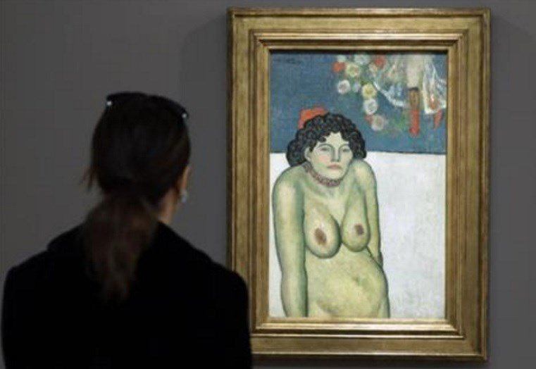 The work features a second picture on the reverse side depicting Picasso's art dealer, Pere Manach. The piece is estimated to fetch $60 million on Thursday night, Nov. 5, 2015 at Sotheby's fall art auction. (AP Photo/Richard Drew, File)